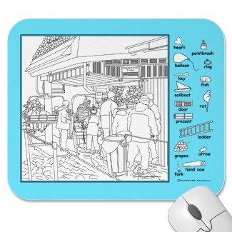 Ski Lift Hidden Picture Mouse Pad